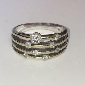 14KT White Gold Natural Diamond Orbit Ring Bold